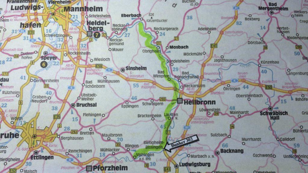 Die grüne Linie zeigt den Verlauf der Neckar-Enz-Stellung